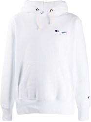 Champion Logo Embroidered Hoodie White