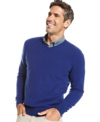 Club Room Cashmere V Neck Solid Sweater Dazzling Blue
