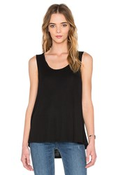 Heather Scoop Neck Boxy Tee Black