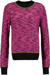 Jonathan Saunders Eve Wool Trimmed Knitted Sweater Pink