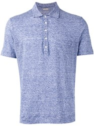 Massimo Alba Button Up Polo Shirt Blue