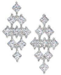 Inc International Concepts Silver Tone Square Crystal Kite Chandelier Earrings Only At Macy's