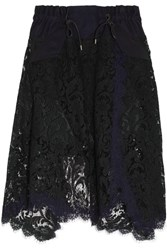 Sacai Asymmetric Cotton Twill Trimmed Lace Skirt Black