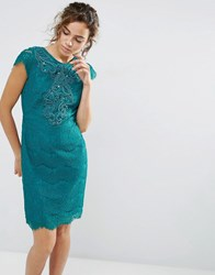 Darling Capped Sleeve Lace Dress Emerald Green