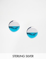 Asos Sterling Silver Turquoise Stud Earrings Asos Sterling Silver