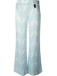 Thomas Wylde Printed Flared Trousers Blue