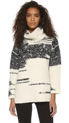 Pure Dkny Turtleneck Sweater Off White Black