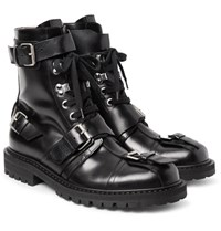 Dries Van Noten Buckled Polished Leather Boots Black