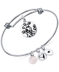 Unwritten Mom Charm And Rose Quartz 8Mm Bangle Bracelet In Stainless Steel