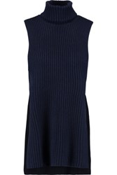 Autumn Cashmere Ribbed Knit Turtleneck Sweater Navy
