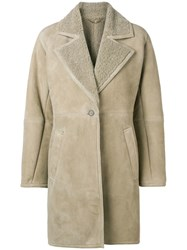 Salvatore Ferragamo Shearling Lined Coat Neutrals