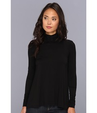 Three Dots L S Relaxed High Low Turtleneck Black Women's Long Sleeve Pullover
