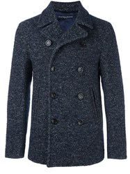 Jacob Cohen Herringbone Short Coat Blue