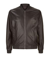 Gieves And Hawkes Leather Bomber Jacket Male Black