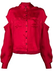 Andrea Ya'aqov Satin Shirt With Arm Cut Outs Red