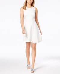 Bar Iii Contrast Stitch Layered Hem Fit And Flare Dress Created For Macy's Washed White