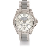 River Island Womens Silver Tone Chunky Embellished Watch