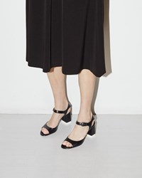 Jil Sander Thira Heeled Sandal Nero And Fondo Bianco