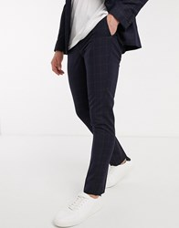New Look Tonal Grid Check Suit Trousers In Navy