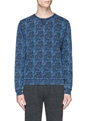 Scotch And Soda Paisley Print French Terry Sweatshirt Blue