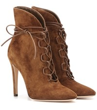 Gianvito Rossi Empire Lace Up Suede Ankle Boots Brown