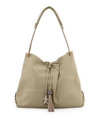 Cervo Soft Leather Hobo Bag Natural Henry Beguelin