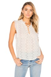 Rebecca Taylor Sleeveless Florence Embroidered Top White