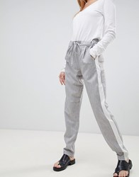 B.Young Side Stripe Trousers Light Grey
