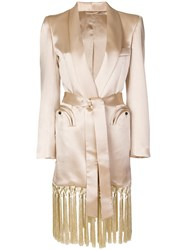Blaze Milano Fringed Trench Coat Nude And Neutrals