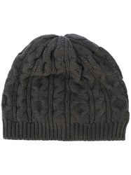 Pringle Of Scotland Cable Knit Beanie Cashmere Grey