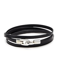 Aubaine Leather Double Wrap Bracelet Black