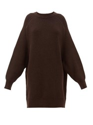 Raey Oversized Crew Neck Ribbed Wool Sweater Dark Brown