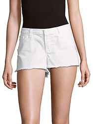 J Brand Frayed Trimmed Shorts White