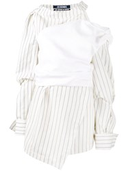 Jacquemus Stripe Asymmetric Dress Nude And Neutrals