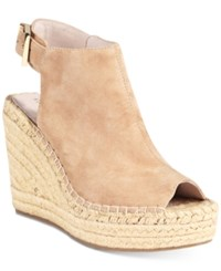 Kenneth Cole New York Women's Olivia Espadrille Peep Toe Wedges Women's Shoes Almond