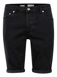 Topman Washed Black Stretch Skinny Fit Denim Shorts