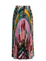 Valentino Counting 6 Print Pleated Silk Skirt Pink Multi