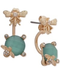 Lonna And Lilly Gold Tone Pave Colored Stone Critter Jacket Earrings Green