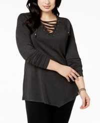 Belldini Plus Size Grommet Lace Up Tunic Heather Charcoal Gold