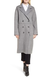 Trina Turk Amy Double Breasted Wool Coat Grey Plaid
