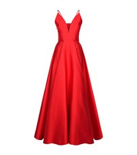 La Mania Silk Camisole Floor Length Gown Female Red
