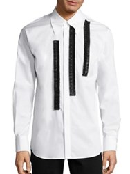 Dsquared Ruffle Trimmed Woven Shirt White