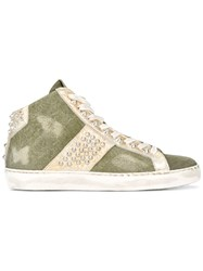 Leather Crown Studded Hi Top Sneakers Green