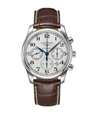 Longines Master Stainless Steel And Textured Leather Strap Watch L27594783 Brown