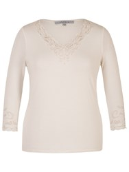 Chesca Cut Out V Neck T Shirt Ivory