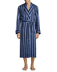 Derek Rose Striped Cotton Wrap Robe Blue Men's