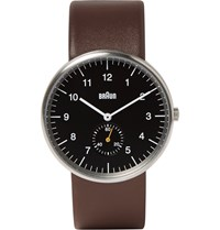 Braun Bn0024 Leather And Stainless Steel Watch Brown