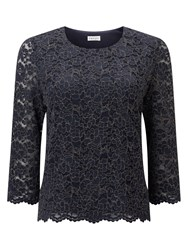 Eastex Glitter Lace Top Navy