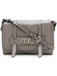 Miu Miu Logo Plaque Satchel Grey