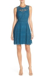 Women's Adelyn Rae Sleeveless Lace Fit And Flare Dress Navy